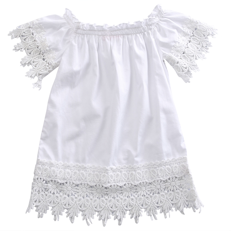 Toddler Kids Baby Girls Clothes Lace Dress White Sleeve ...