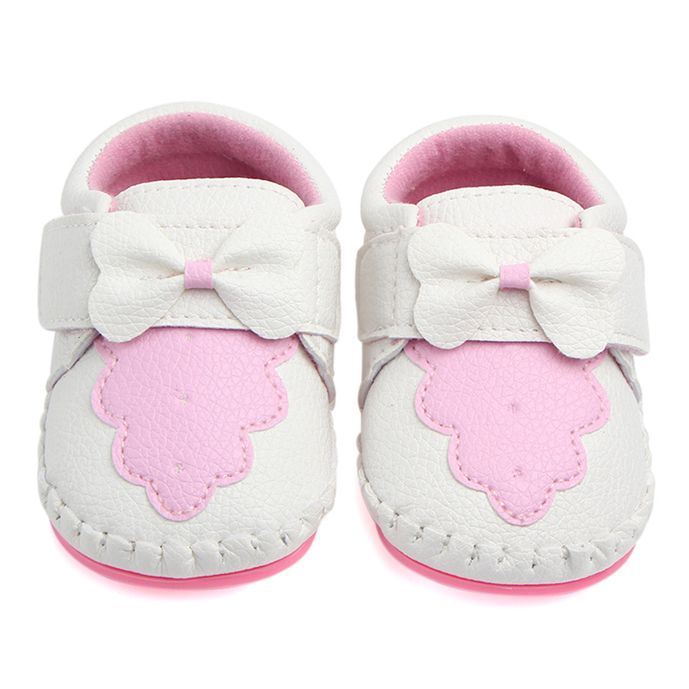 6-12 Months, Pink Baby Girls Shoes Toddler Sneaker Sole Shoes Infant Bow Loafers Moccasin Prewalker