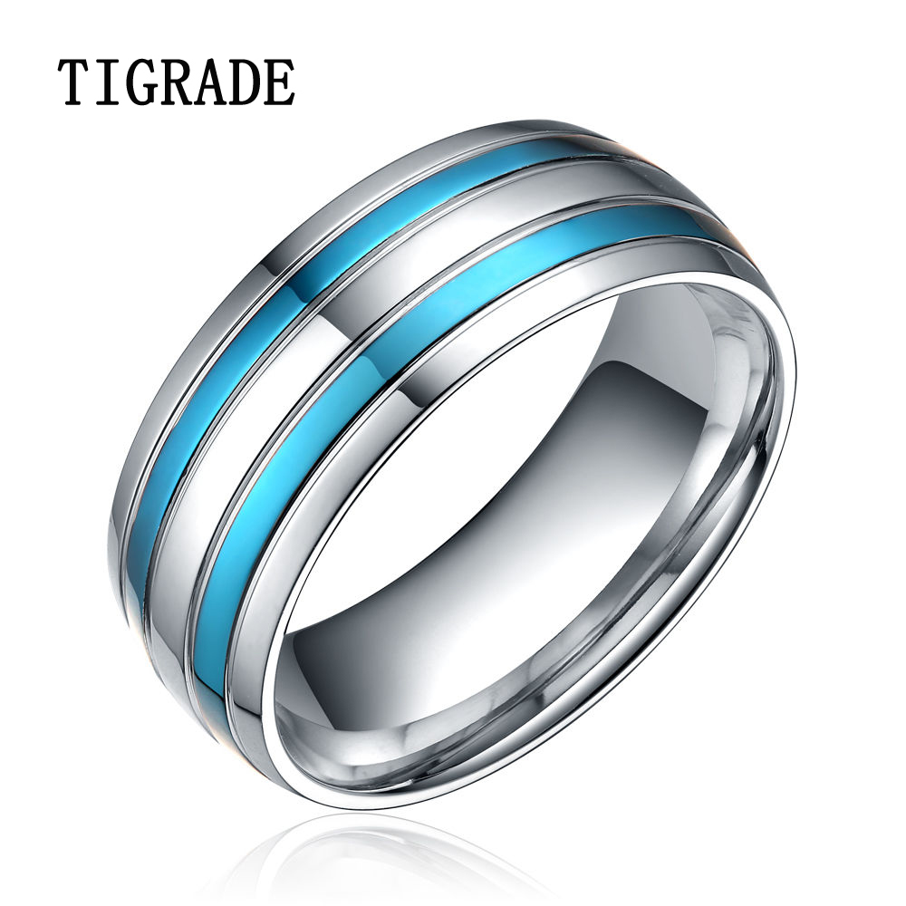rings stainless men couple steel product titanium blue women silver merdia