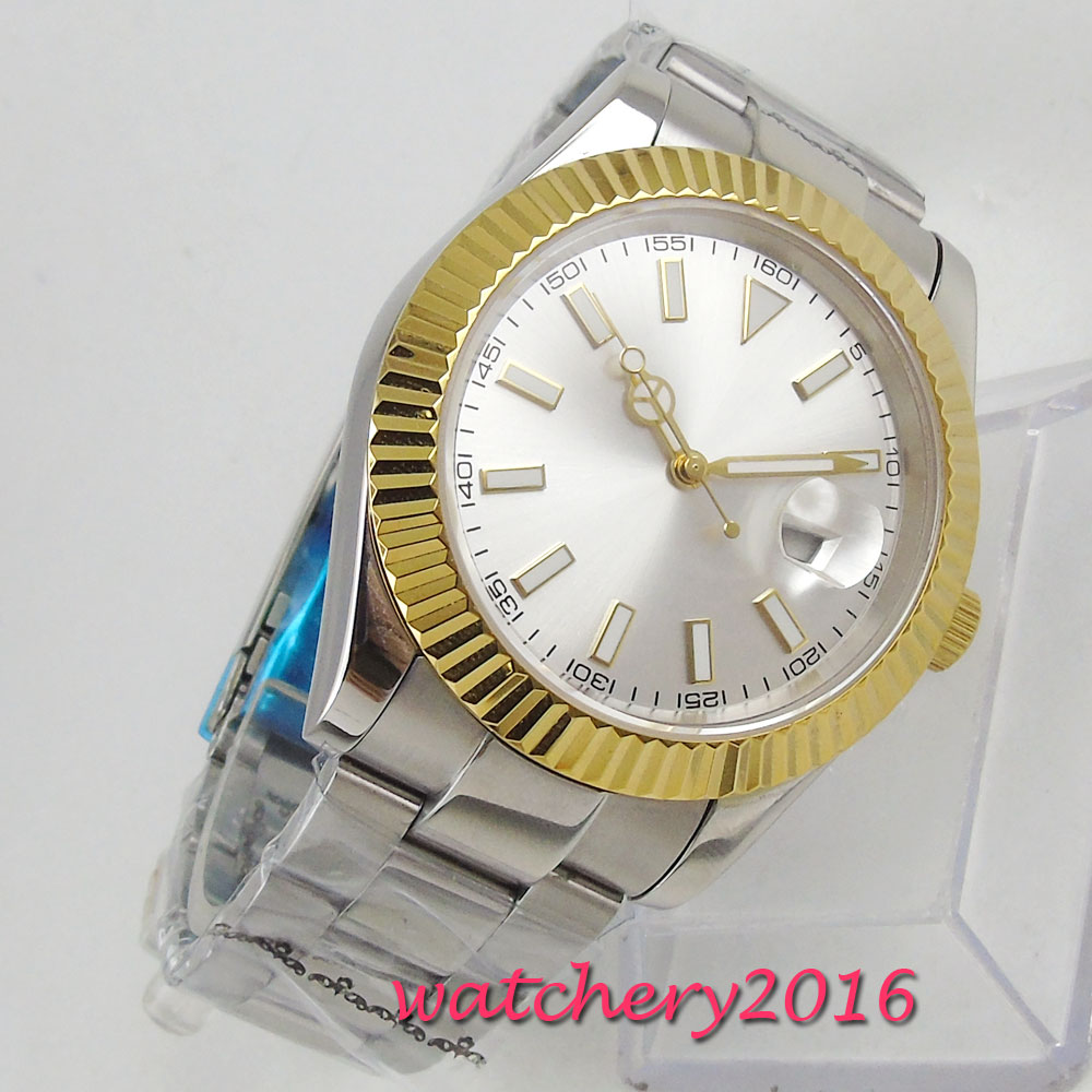 40mm Sterile Dial Steel Case Sapphire Glass Date Luminous Automatic Miyota Movement men's Watch