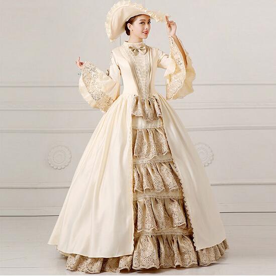 135fc95d7932 Royal Ladies Medieval Renaissance Victorian Dresses Champagne ...