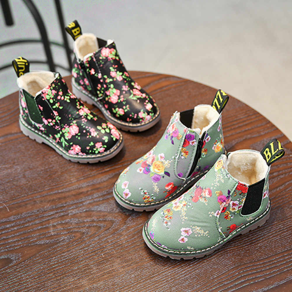 New Children Boots for Girls Boys Shoes Kids Elegant Flower Boots Boys Kids Shoes Baby Toddler Martin Boots Girls Winter Shoes