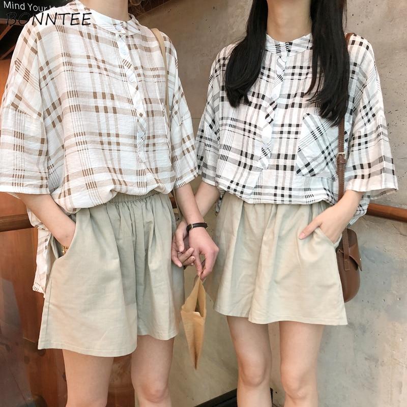 Shorts Women Loose Students Elastic Waist Solid All-match Chic Womens Leisure Wide Leg Short Ladies Pocket Summer Clothes Korean