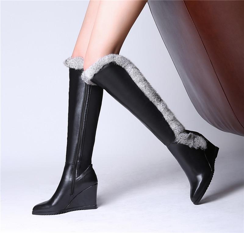 2017 Brand Designer Black Women Knee High Snow Boots Wedge -5845