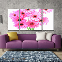 3Pcs Bunch Of Pink Flower Daisy Modern Wall Art Flower Painting Giclee Printing On Canvas Waterproof