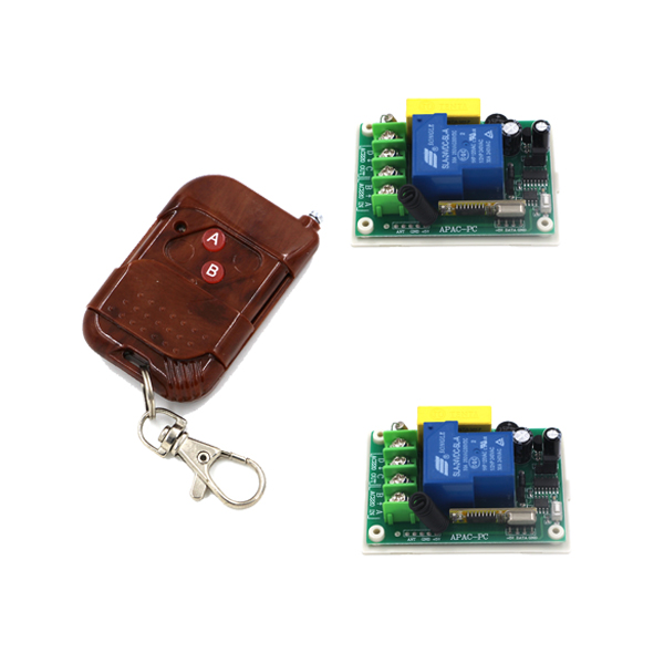 RF AC 220V 3000W 1 Channel 30A Relay Wireless Learning Remote Control Switch Wooden Frame Transmitter SKU: 5520