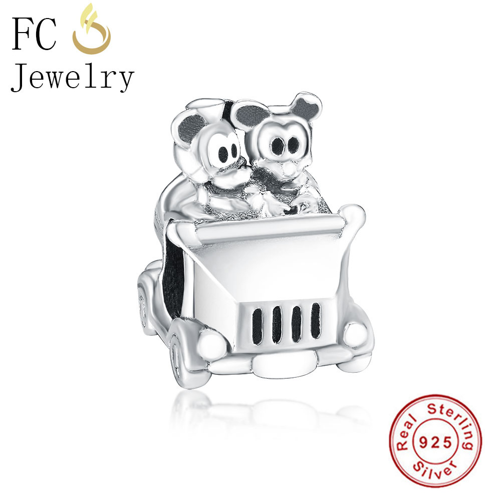 FC Jewelry Fit Original Pandora Charms Bracelets 925 Sterling Silver Vintage Mickey Minnie in car Beads for DIY Making Berloque