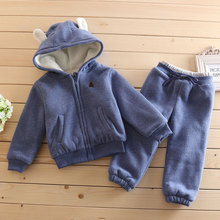 купить Boys Girls Children Hoodies Winter warm velvet Parkas Baby Sports Suit New 2018 Jacket Sweater Coat & Pants Thicken Kids Clothes дешево