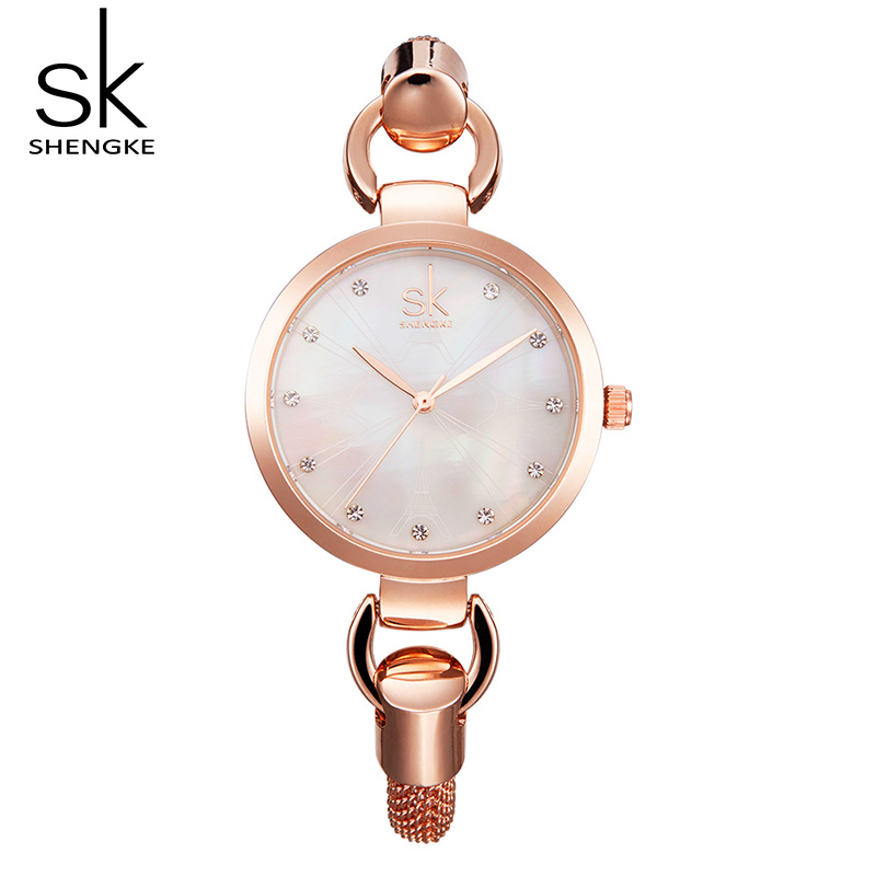 Shengke Lady Dress Watch Small Shell Dial Rose Gold Bracelet Watches Women Quartz Wristw ...