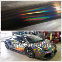 SILVER BLACK Holographic Chrome Car Wrap Film With Air Bubble Free Full Holo Car Covering Foil