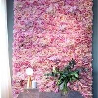 40x60cm Silk Rose Flower Champagne Artificial Flower for Wedding Decoration Flower Wall Panels Romantic Wedding Backdrop Decor
