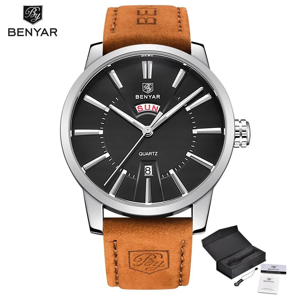 Men watches BENYAR luxury brand Calendar Fashion Quartz Watch Men's leather Waterproof  Analog Display Watch relogio masculino