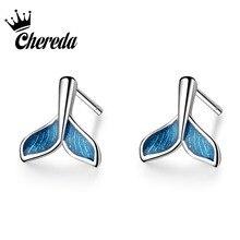 Chereda Cute  Stud Earrings for Women Whale Tail Shape Romantic Blue Earring Animal Ear Studs Jewelry