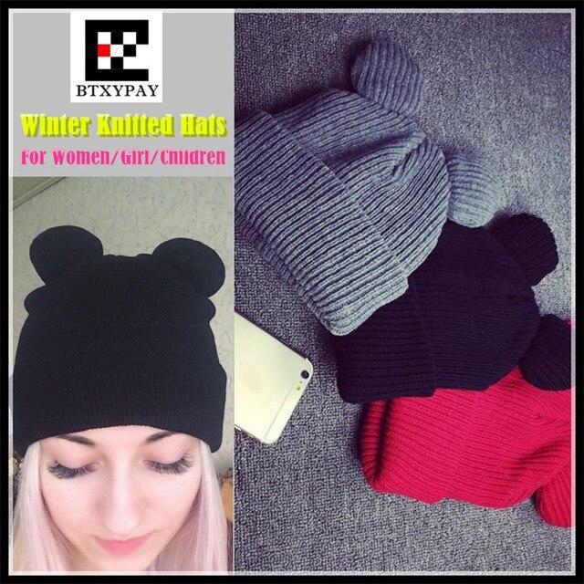 300pcs Female Winter Caps Hats Women Devil Horns Cat Ear Cute Crochet Braided Knitting Wool Beanies Hat Girls Children Warm Cap
