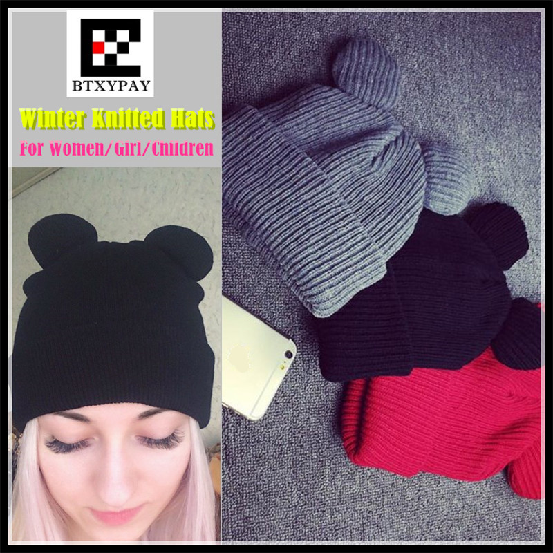 300pcs Female Winter Caps Hats Women Devil Horns Cat Ear Cute Crochet Braided Knitting Wool Beanies Hat Girls Children Warm Cap футболка toy machine devil cat navy