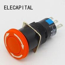 Аварийный стоп-сигнал для гриба 16 мм, переключатель e-stop, 3 контакта, NO + NC