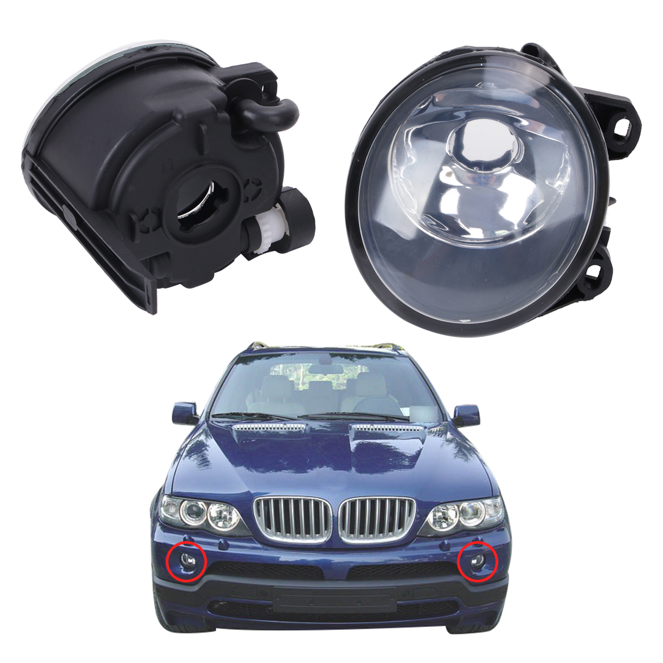 For BMW E53 X5 2003-2006 Front Bumper Clear Glass Lens Driving Fog Light Lamp Replacment  Foglamps Housing #W084 1pcs front halogen foglamps clear glass lens front fog light driving lamp for volkswagen passat b6 for right side