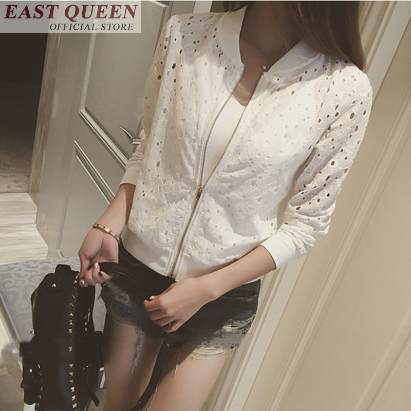 Female   jackets   lace women slim   basic     jacket   full sleeve o-neck zipper solid hollow out summer tops for women 2018 DD710 L