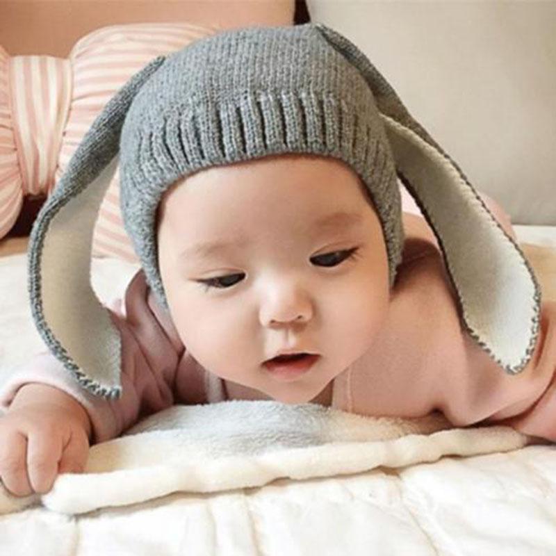 Kawaii Rabbit Long Ear Baby Hat Cap Winter Warm Toddler Infant Crochet Knitted Earflap Plus Fleece Baby Beanie Photo Props D20