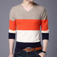 New Spring Sweater Men Pullover Casual Sweater Male V neck Collar Stripe Simple Slim Fit Knitting Mens Sweaters