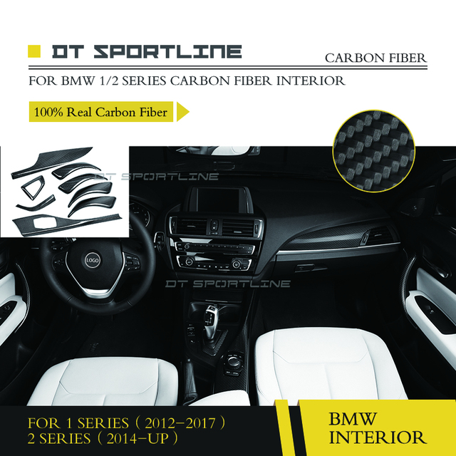 100 Real Carbon Fiber Interior Trim Dash Kit For Bmw 1 Series 2