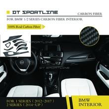 100% Reale In Fibra di Carbonio Interni Dash Trim Kit fit Coupé e Berlina porta trim cruscotto Per BMW Serie 1 2 serie F20 F21 F22 F23