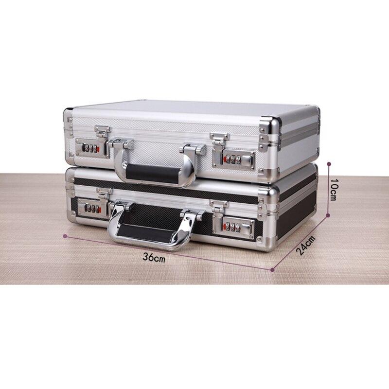 360*240*100mm Portable Lock Box Aluminum Alloy Toolbox Document Insurance Household Storage Box Metal Box With Lock Trumpet