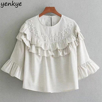 Vintage Women Beading Blouse Round Neck Three Quarter Sleeve Loose Ruffle Top Lady Brand Crop Tops