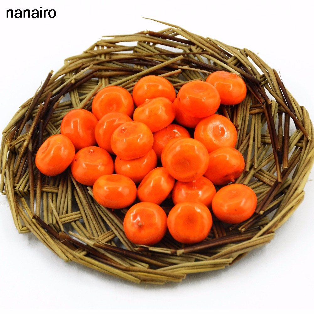 Cheap 20Pcs Mini Orange Artificial Fruits And Vegetables For Wedding Home Decoration Cognitive Toy Fake Plastic Foam Berries