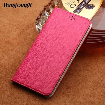 Genuine Leather business phone case for xiaomi 8 lychee texture clamshell protective shell handmade mobile phone case
