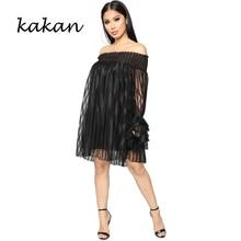 Kakan summer new womens dress nightclub sexy tube top word shoulder long sleeve mesh white black