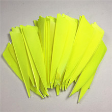 50pcs High Quality 3inch Feath Shield Cut Turkey Feather Fluorescent Yellow Arrow Real Feathers Vanes Bow