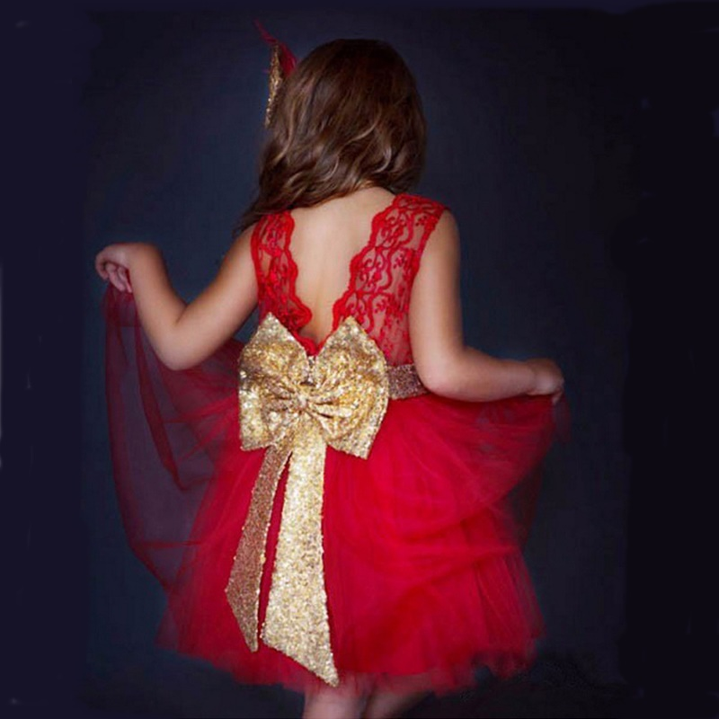 Erapinky 2018 Summer Tulle Dresses For Girls Sweet Sleeveless Bow Backless Children's Party Dress Floral Lace Dress Baby Girls ems dhl free summer new girls princess dress lace bow v back tulle gauze sequin sparkle sleeveless tiers pearls beaded dress