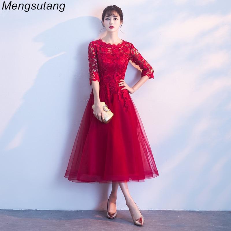 Robe De Soiree Long Elegant Wine Red Lace O-Neck Half Sleeves Tulle Evening Dress A-Line Vestido De Festa Party Prom Dresses
