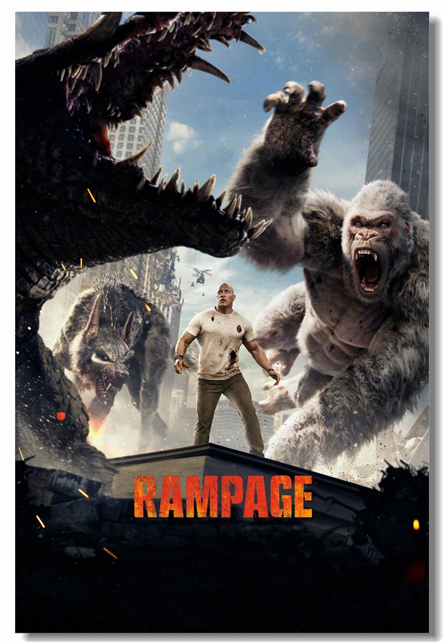 Custom Canvas Wall Art Dwayne Johnson Poster Rampage Wall Stickers Mural Rampage King Kong