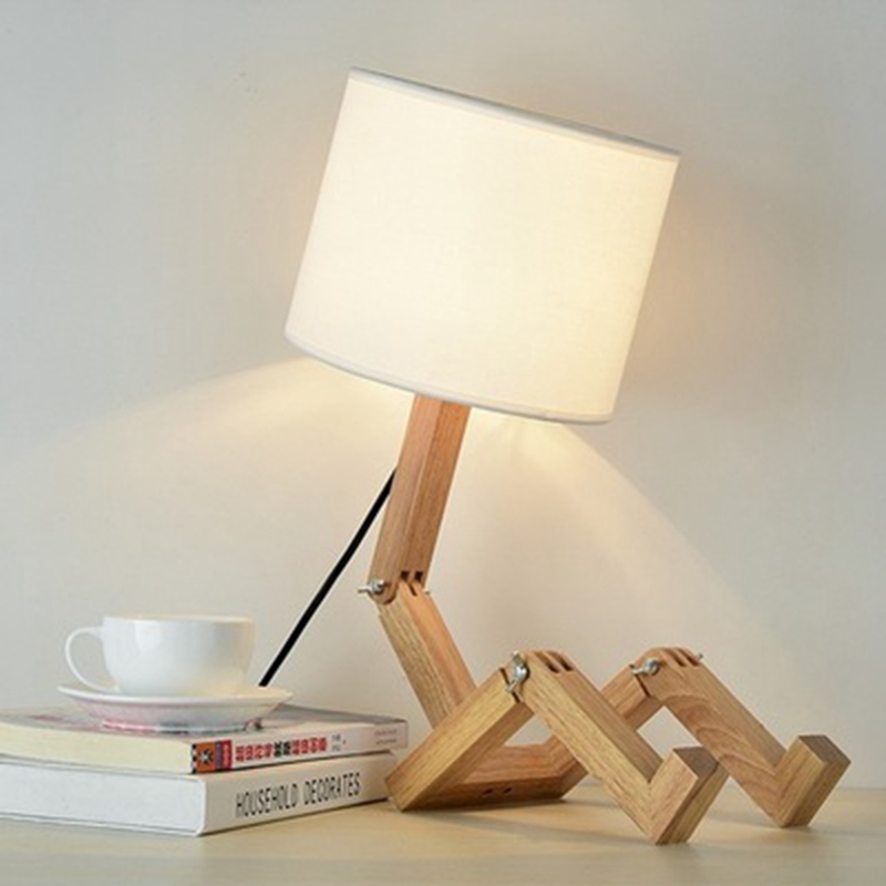 LukLoy Creative Wooden Robot LED Desk Lamp Fashion Home LED Table Lamp Bedroom Fabric Table Light for Living Room Study Lighting wooden table lamp 280 280 400mm e27 wood cloth white desk light for study room bedroom home decoration living room wtl014