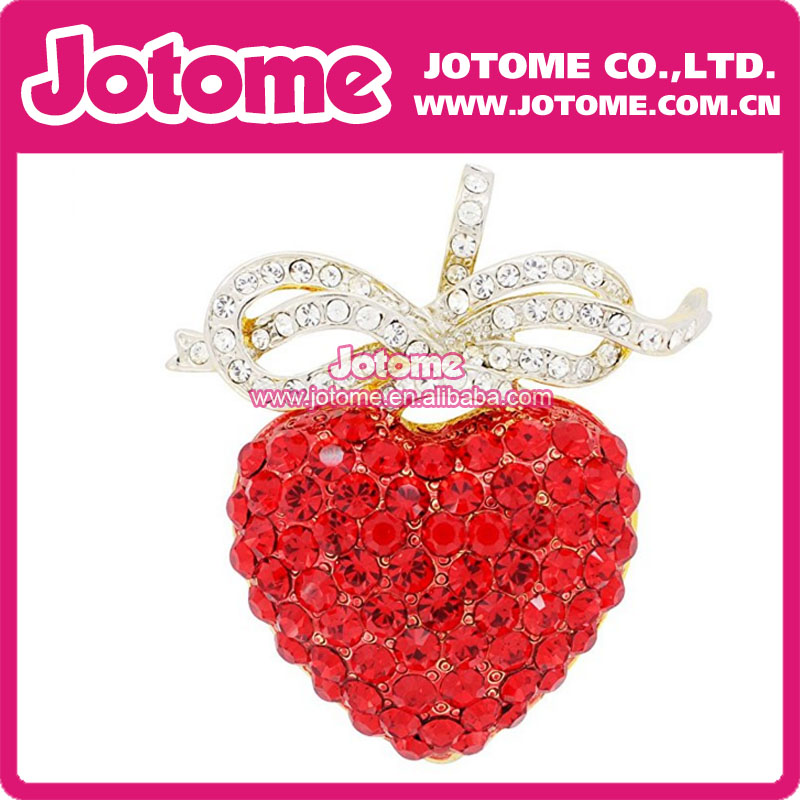 Jotome New fashion Crystal Red Heart Bow Brooches Strawberry safety pins for gift