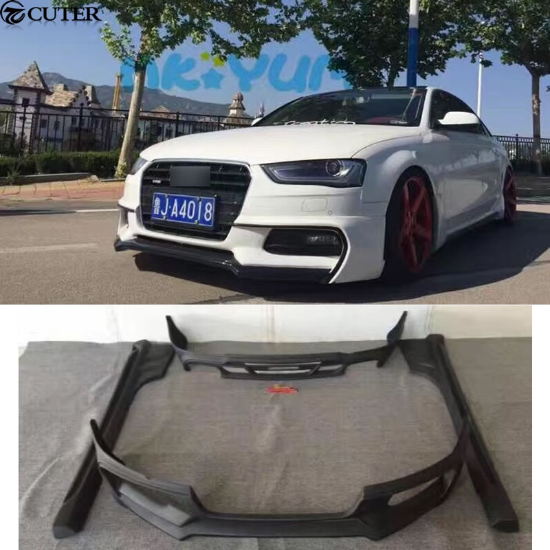 A4 B9 Unpainted WD Style Car Body Kit PP Auto Front Bumper Side Skirts Rear Diffuser For Audi A4 B9 WALD Body Kit 13-15