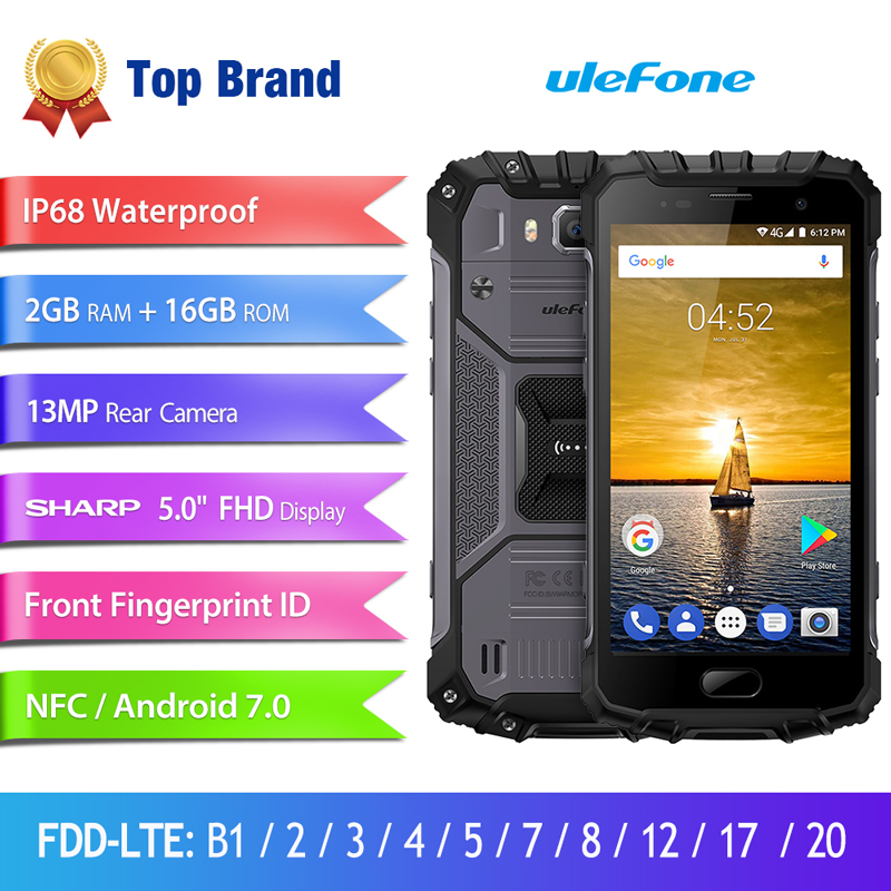 Ulefone Armor 2S Waterproof IP68 Mobile Phone MTK6737T Quad Core Android 7 0 2GB RAM 16GB