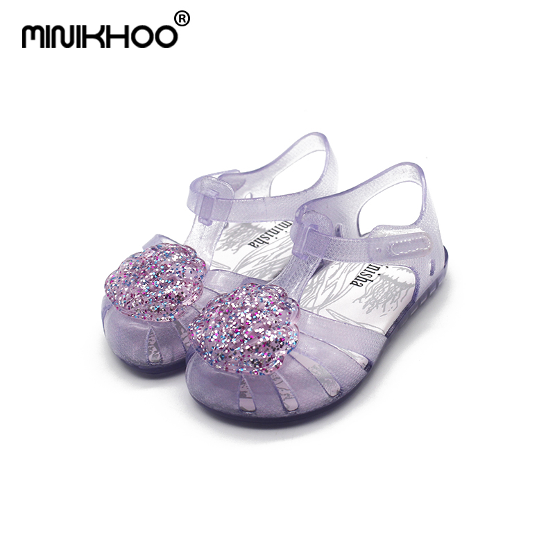 294ad3cc50ff Detail Feedback Questions about Mini Melissa 2018 New Arrival Flash Shell  Girls Jelly Sandals Children Shoes Baby Sandals Non slip Melissa Princess  Beach ...