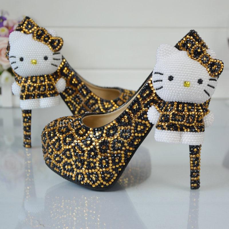 Leopard gold and black rhinestone wedding shoes with hello for Black shoes with wedding dress