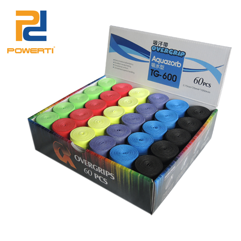 POWERTI 60pcs/lot 0.75mm Dry Sweatband PU Soft Over Grip Tennis Racket Grip ,Comfortable Badminton Racket Grip TG-600
