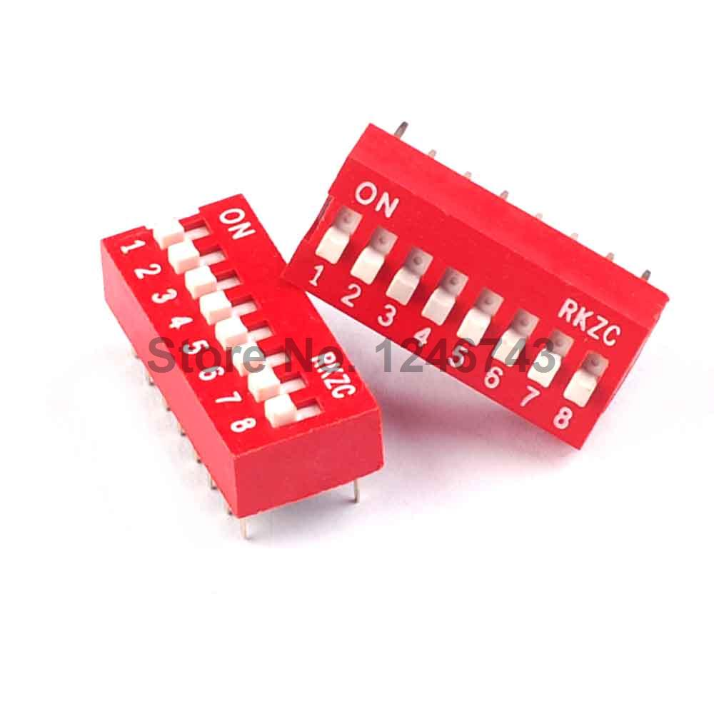 100PCS 8P 8 Position DIP Switch 2.54mm Pitch 2 Row 16 Pin DIP Switch