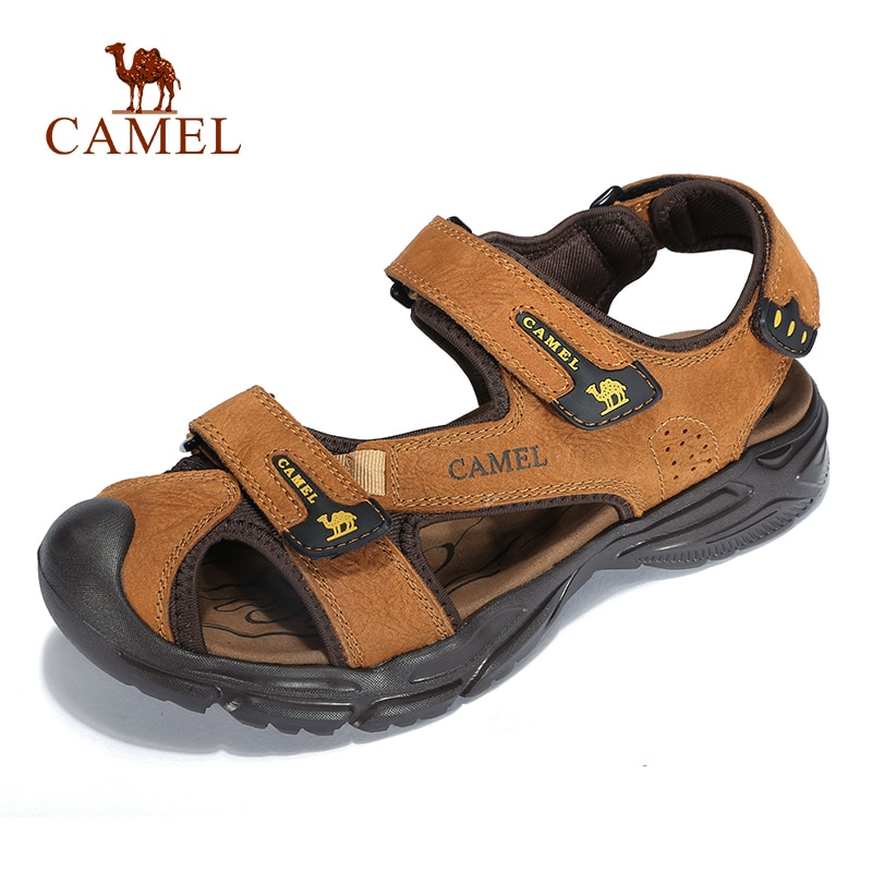 CAMEL Men Genuine Leather Casual Outdoor Sandals Light Anti Collision Durable Waterproof High Quality Beach Sandals