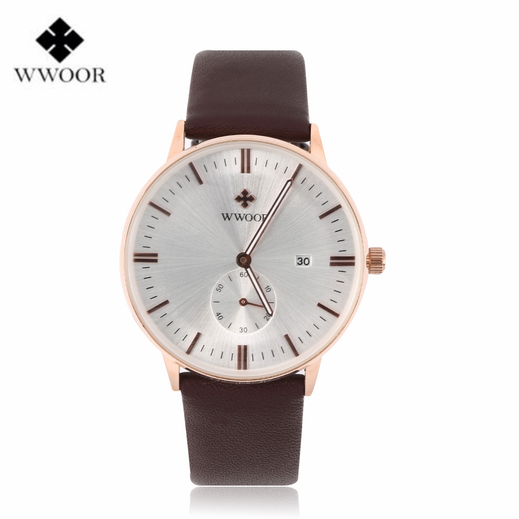 Wwoor luxury men s watches faux leather quartz analog dress wrist watch relogio masculino new arrival