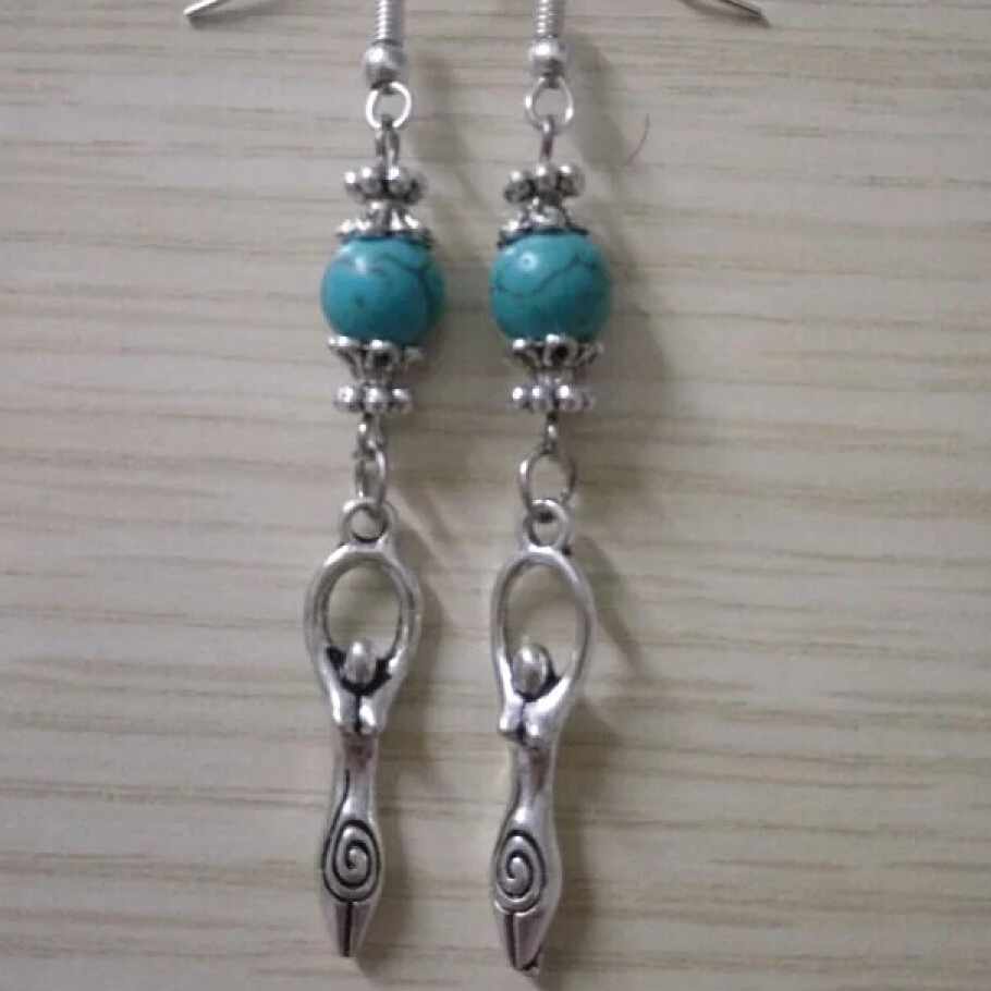 Dangle Earrings Charms Goddess Jewelry Beads Ancient-Silver Multicolor New-Fashion
