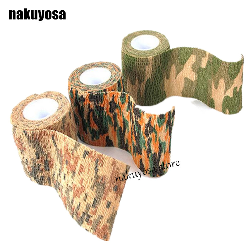 5 Rolls/lot New Arrival Tactical Hunting Tape Fabric Paintball Military Camouflage Tape Hunting Gun Clothes Camo Tape Bandage