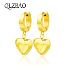 QLZBAO Hot Sale Gold Earring 361l Stainless Steel Jewelry Fashion Heart Pendant Women Earrings For Women Wedding Gift Wholesale(China)
