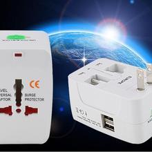 DHL 30 шт. Медь многоцелевой Глобальный Универсальный дорожный адаптер штекер двойной порт USB адаптер питания AC Розетка конвертер
