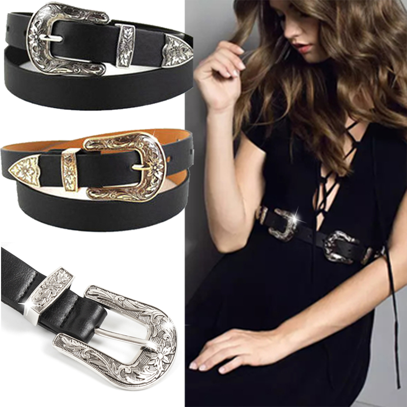 TOYOOSKY Hup Women Black Leather Western Cowgirl Waist   Belt   Metal Buckle Waistband New Hot   Belts   for Women Luxury Designer Brand